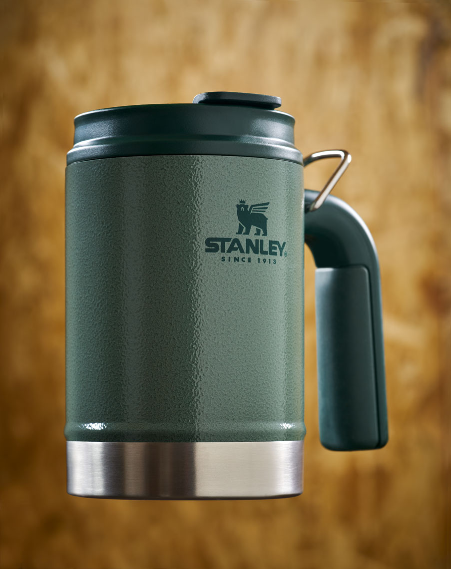 Dan Schrock Product Photographer Still Life Stanley Thermos Travel Army Green Coffee Mug Floating