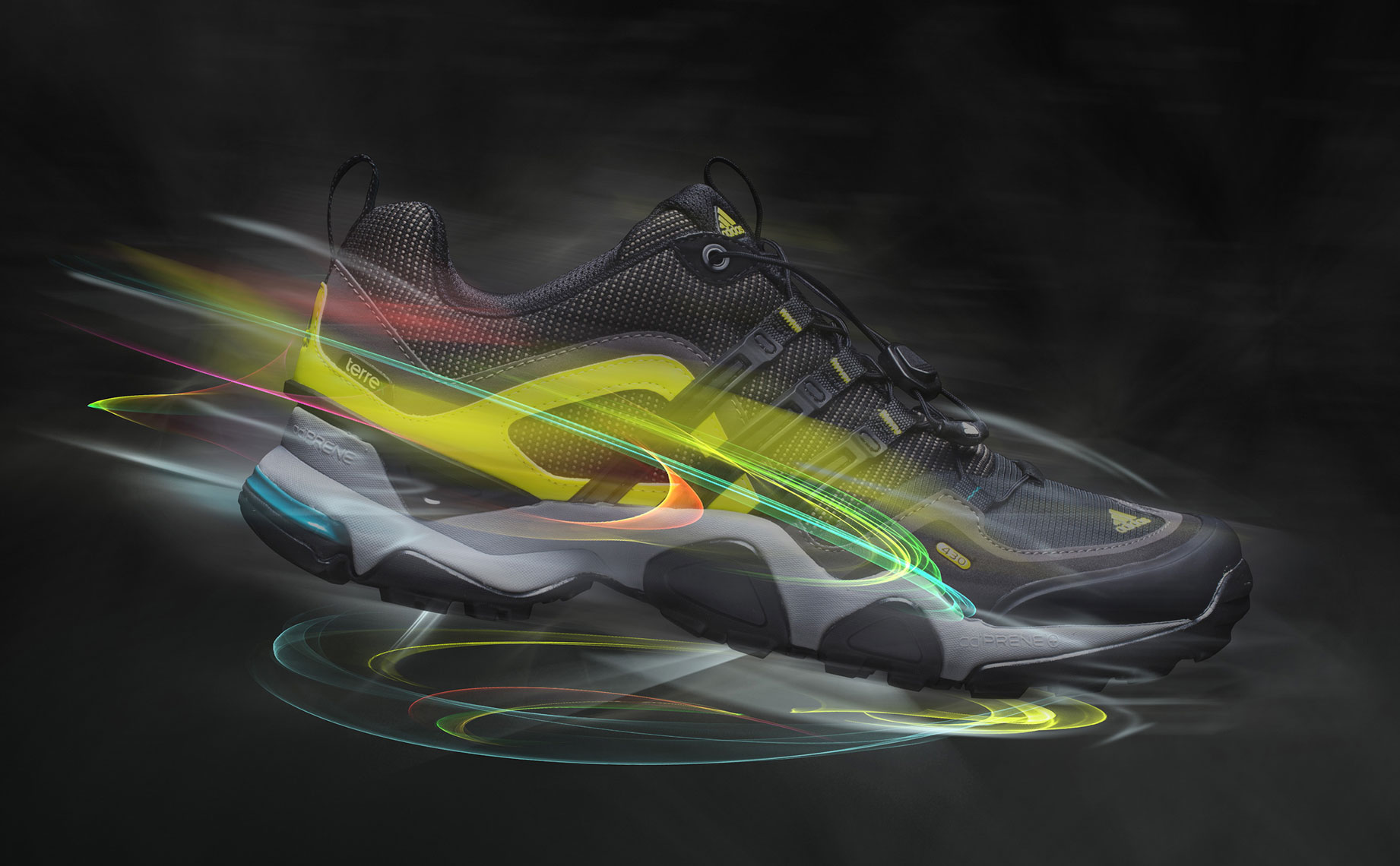 Product Photography Adidas Terre X Shoes Profile Floating with Glowing Light Trails Chicago