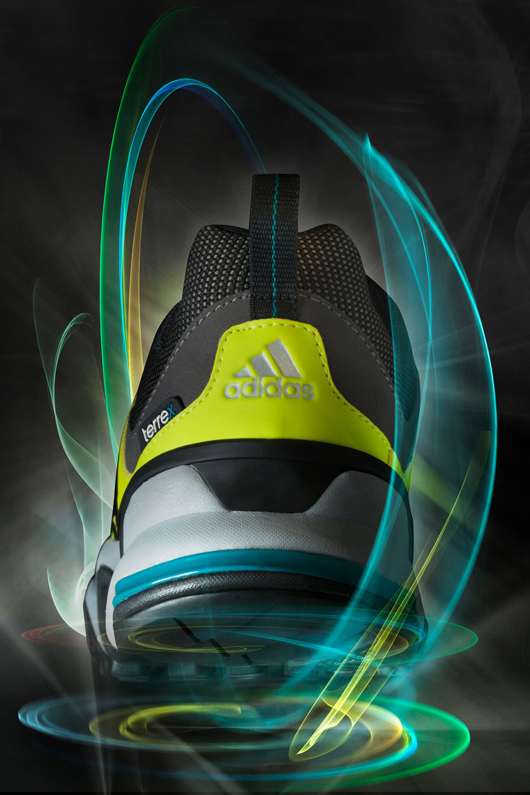 Product Photography Gear Addidas Terre X Shoes Back Heel Floating with Glowing Light Trails Denver