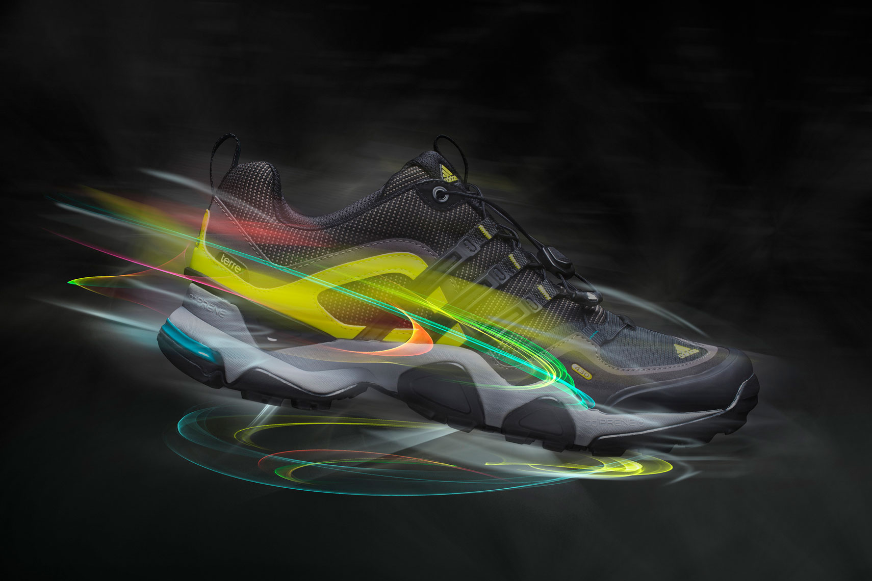 Product Photography Gear Addidas Terre X Shoes Profile Floating with Glowing Light Trails