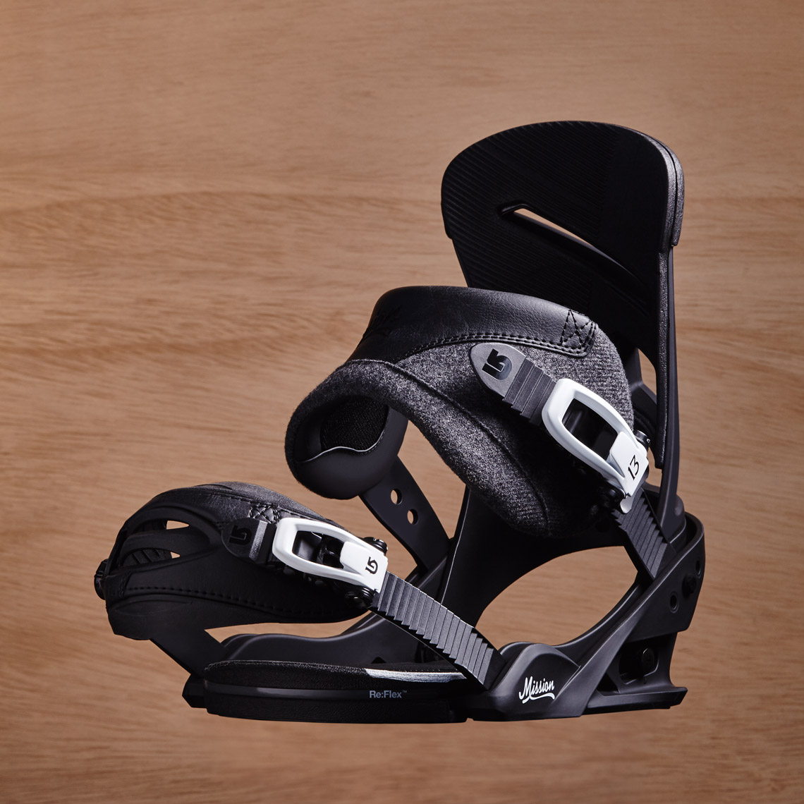 Product Photograpy Gear Burton Mission Snowboard Binding Profile Black From REI Floating In Air Denver
