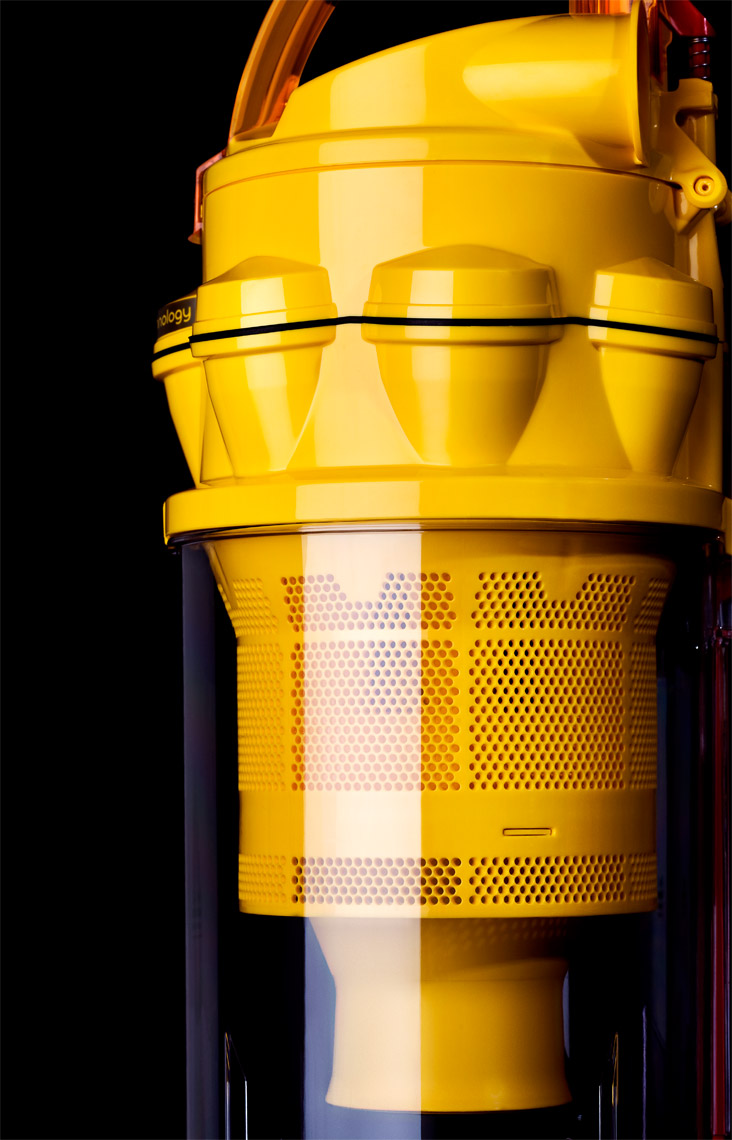 Dan Schrock Product Photographer Gadgets Dyson Vacuum Upright Canister Profile Detail View Of Yellow Inside