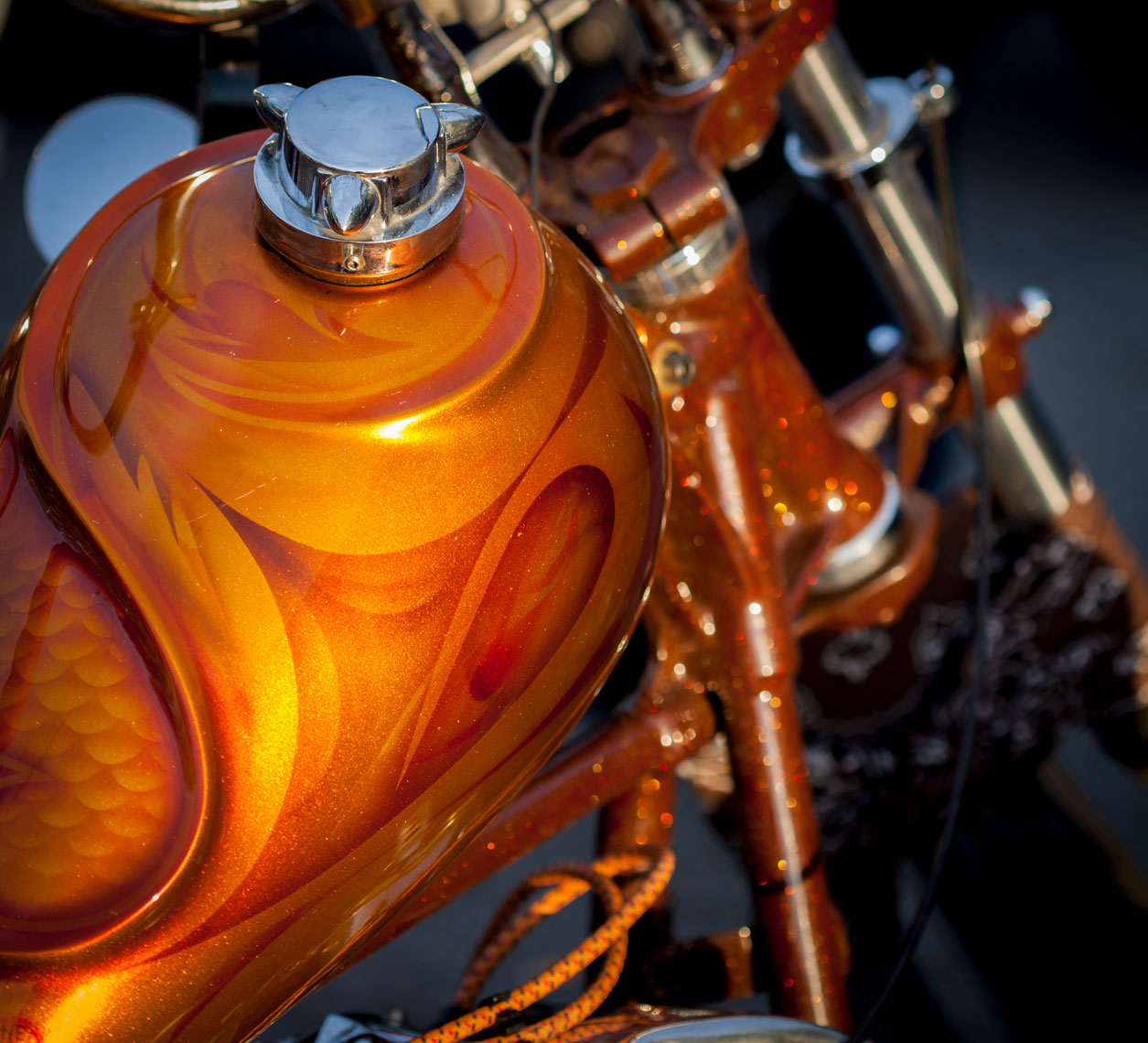 22 Location Photogrphay Custom Motorcycle Builderes Denver Colorado FTW Gold Sparkle Gas Tank