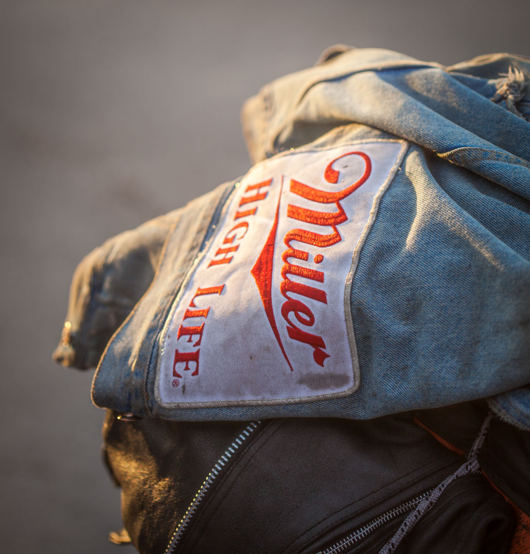 18 Location Photography Miller High Life Beer Jean Jacket Motorcycles Sundown Race Track