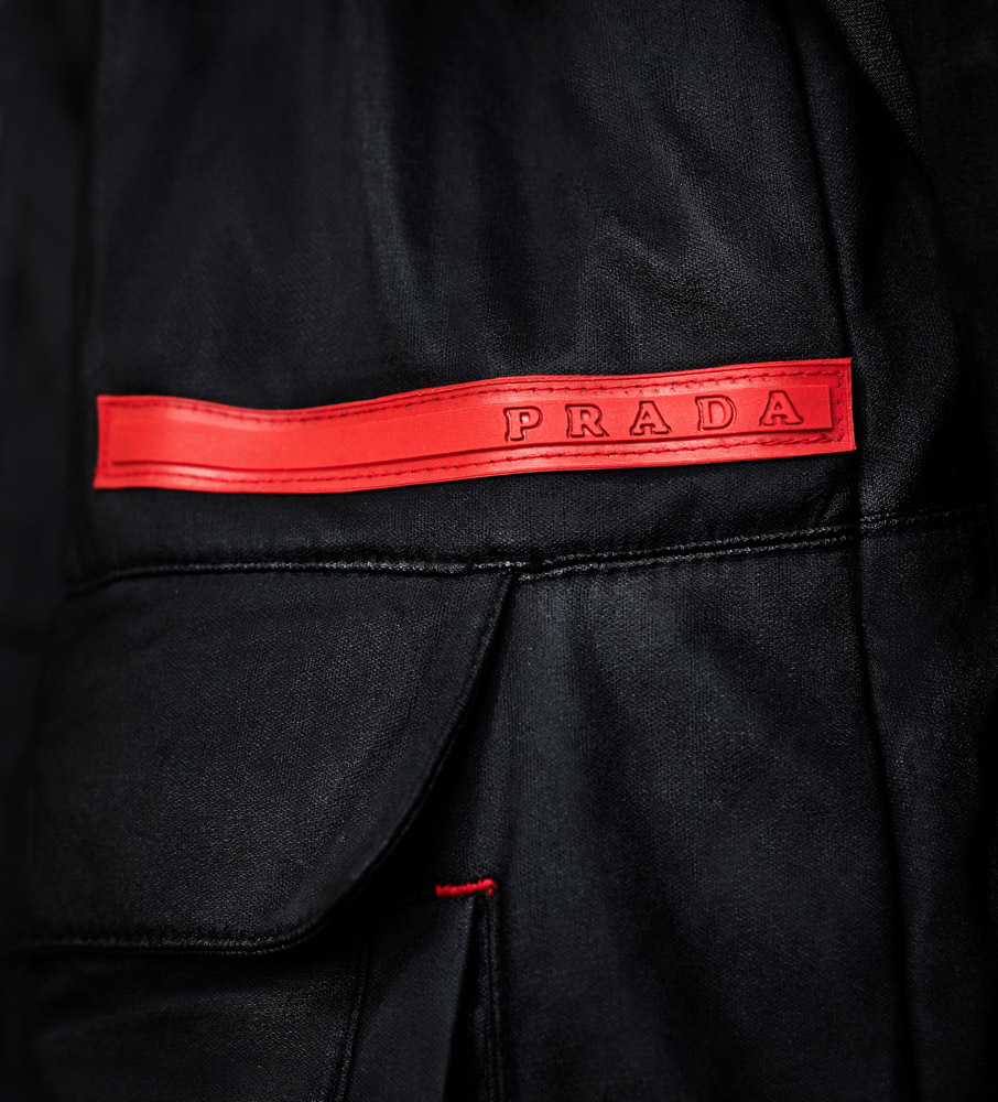 Product Photography Mens Prada Casual Coat Detail of Red Label From Nordstroms Chicago