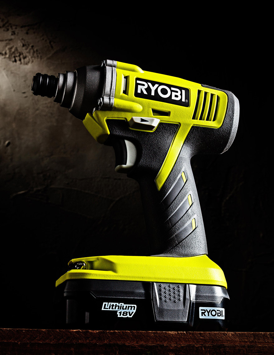 Product Photography Gadgets Ryobi Impact Half Inch Wrench Beauty Shot in Studio Saftey Yellow Green Denver
