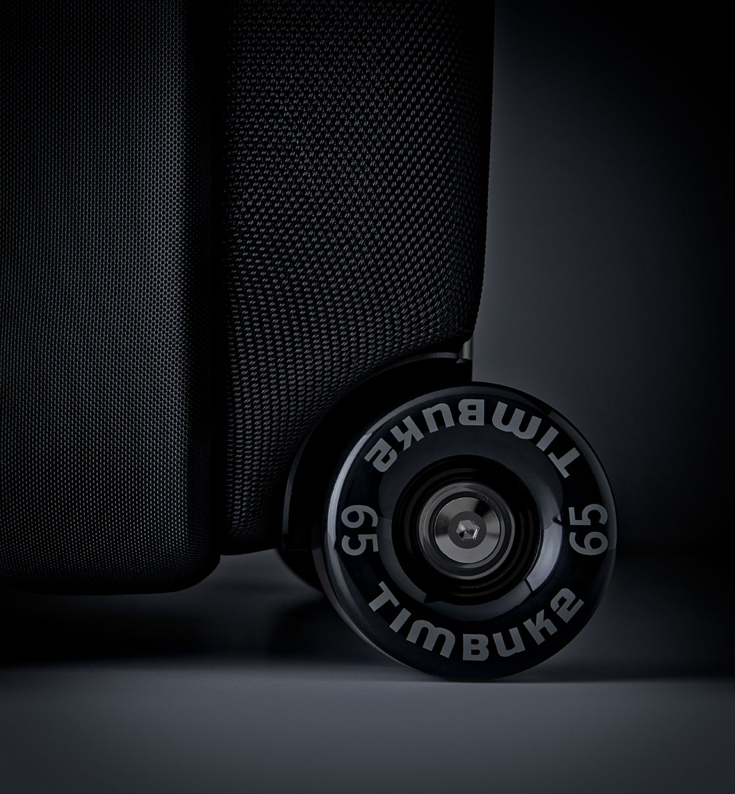 Product Photography Still Life Timbuk 2 Wheeled Carry On Luggage Bag in Black Denver